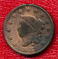 1827 CORONET HEAD LARGE CENT EARLY 19TH CENTURY COPPER SHIPS FREE