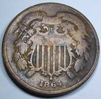 1864/1864 MINT ERROR RPD VG U.S. TWO CENT PIECE US 2 ANTIQUE CURRENCY 1864 COIN