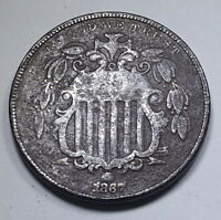 1867 VF-EXTRA FINE  NO RAYS U.S. SHIELD NICKEL 5 CENT VINTAGE OLD US WITHOUT ANTIQUE COIN