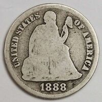 1888-S SEATED LIBERTY DIME.  GOOD. 114399
