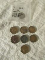 LOT OF 8 INDIAN HEAD PENNIES 1887 1890 1903 1908 1905 1906