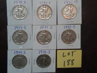 8- LIBERTY HALF DOLLARS 1940S MINT MARK  S, CHOICE OF 6 DIFFERENT YEARS  B-22