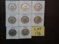 8- LIBERTY HALF DOLLARS ONE OF EACH YEAR 1940S MINT S, CHOICE OF 5 LOTS B-23