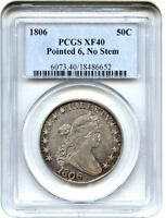 1806 50C PCGS EXTRA FINE 40 POINTED 6, NO STEMS GREAT TYPE COIN - BUST HALF DOLLAR