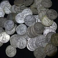 100 PIECES WALKING LIBERTY HALVES AVG CIRCULATED, MOSTLY DATED 1940S FEW 30S