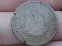1867 TWO 2 CENT PIECE- CIVIL WAR TYPE COIN, CHOCOLATE BROWN, RIM CUTS
