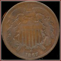 1867 2 CENT COPPER   BETTER DATE COLLECTORS SPECIAL A BARGAIN BUY JUST $10.95
