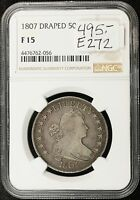 1807 DRAPED BUST HALF.  IN NGC HOLDER F 15.   E272