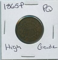 1865-P TWO CENT SHIELD US MINT COIN PQ HIGH GRADE