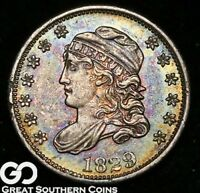 1829 CAPPED BUST HALF DIME, RAINBOW COLOR, SHARP  SHIPS FREE