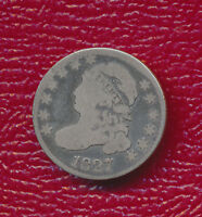 1827 CAPPED BUST SILVER DIME FANTASTIC TONING SHIPS FREE