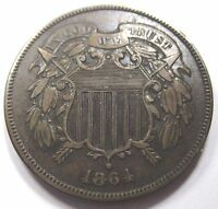 1864/1864 DRAMATIC RPD AU U.S. TWO CENT PIECE US 2 ANTIQUE CURRENCY 1864 COIN