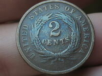 1864 TWO 2 CENT PIECE- VG/FINE REVERSE DETAILS, PURPLE/BLUE TONING
