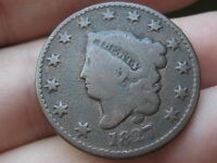 1827 MATRON HEAD LARGE CENT PENNY- FULL DATE, GOOD/VG DETAILS