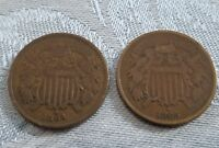 BOTH 1864 & 1865 TWO CENT PIECES - GOOD & FINE