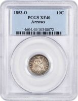 1853-O 10C PCGS EXTRA FINE 40 ARROWS ATTRACTIVE TONING - SEATED LIBERTY DIME