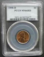 1958 D LINCOLN CENT PCGS MINT STATE 66 RD