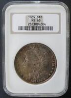 1889  MORGAN DOLLAR NGC MINT STATE 65