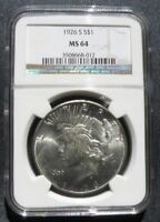 1926 S PEACE DOLLAR NGC MINT STATE 64