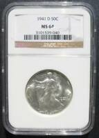 1941 D WALKING LIBERTY HALF NGC MINT STATE 64