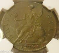 1772 BRITAIN NGC ORIGINAL IN LAUREATE BUST RIGHT SHIELD LEFT AU 53 BN
