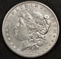 1887-S MORGAN SILVER DOLLAR.  FULL CHEST FEATHER'S. ORIGINAL UNCLEANED BU 116079