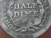 1855 P SEATED LIBERTY HALF DIME  GOOD/VG DETAILS
