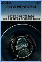 2002 S JEFFERSON NICKEL  PCGS PROOF 69 DEEP CAMEO  BARGAIN PRICED $5.00