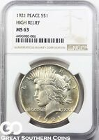 1921 NGC PEACE DOLLAR NGC MS 63    GREAT STRIKE HIGH RELIEF