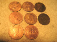 8 ANTIQUE 1917 1920 1945 1958 COPPER COINS SOUTH AFRICA GREAT BRITAIN 1D PENNY