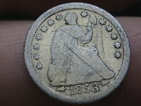 1853 O SEATED LIBERTY HALF DIME WITH ARROWS FULL DATE