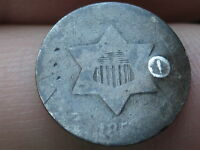 1853 THREE 3 CENT SILVER  GOOD DETAILS  PUNCH MARK