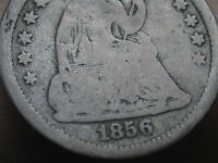 1856 P SEATED LIBERTY HALF DIME VG DETAILS FULL DATE