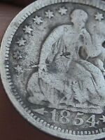 1854 P SEATED LIBERTY HALF DIME  VG DETAILS