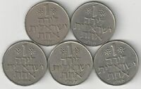 5 DIFFERENT 1 LIRA COINS FROM ISRAEL  1969 1972 1974 1975 & 1979