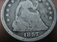 1857 P SEATED LIBERTY HALF DIME  GOOD/VG DETAILS