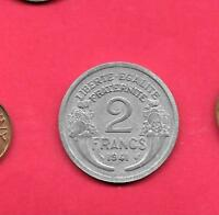 FRANCE FRENCH KM886A.1 1941 VF VERY FINE NICE WWII OLD USED 2 FRANC VINTAGE COIN