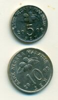 2 DIFFERENT COINS FROM MALAYSIA   5 & 10 SEN  BOTH DATING 2008
