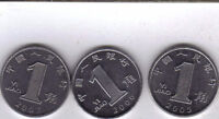3 DIFFERENT 1 JIAO COINS FROM THE PEOPLE'S REPUBLIC OF CHINA  2005 2006 & 2007