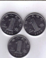 3 DIFFERENT 1 JIAO COINS FROM THE PEOPLE'S REPUBLIC OF CHINA  2008 2009 & 2010