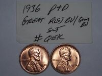 WHEAT CENT 1936-P,1936-D GREAT RED BU SET 1936D,1936 UNC LINCOLN CENT LOT 1