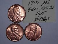 WHEAT CENT LOT 1950,1950-D,1950-S GEM RED BU SET  RED UNC LINCOLN CENTS