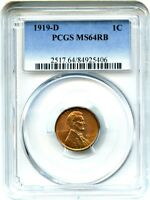 1919-D 1C PCGS MINT STATE 64 RB - LINCOLN CENT