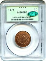 1871 2C PCGS/CAC MINT STATE 65 RB OGH BETTER DATE, OLD GREEN LABEL HOLDER