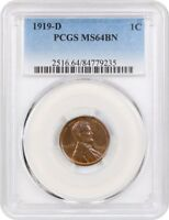 1919-D 1C PCGS MINT STATE 64 BN - LINCOLN CENT
