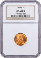 1949-S 1C NGC MINT STATE 66 RD - LINCOLN CENT