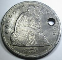 1870 $1 US SILVER DOLLAR SEATED LIBERTY EXTRA FINE  DETAILS ANTIQUE CURRENCY COIN MONEY