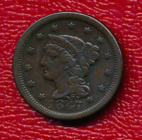 1847 BRAIDED HAIR LARGE CENT   CIRCULATED LARGE CENT SHIPS FREE