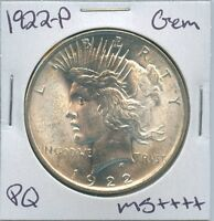 1922-P PEACE DOLLAR UNCIRCULATED US MINT COIN PQ GEM SILVER COIN UNC MS