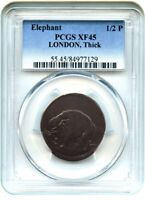 ELEPHANT LONDON 1/2 P PCGS EXTRA FINE 45 BN THICK PLANCHET COLONIAL COINAGE